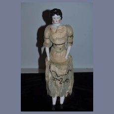 Antique Doll China Head ABG Alt Beck & Gottschalk In Original Factory Dress Fancy Hair Style