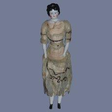 Antique Doll China Head ABG Alt Beck & Gottschalk In Original Factory Dress Fancy Hair Style