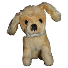 Old Doll Toy Dog Mohair Jointed CUTE!! Miniature W/ Collar