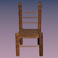 Doll Wood Ladder Back Chair For Display W/ Woven Seat