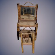 Old Doll Miniature Bamboo Vanity Set Vanity & Chair