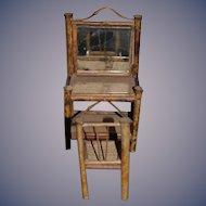 Old Doll Miniature Bamboo Vanity Set Vanity & Chair