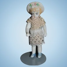 Antique Doll All Bisque Jointed Miniature Bonnet Head Dollhouse