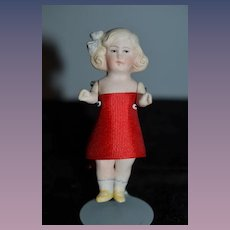 Antique Doll All Bisque Jointed Dollhouse Molded Bow SWEET