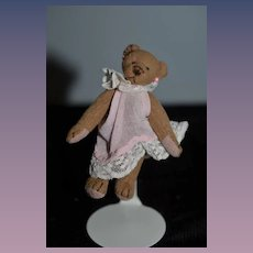 Wonderful Doll Toy Teddy Bear Miniature Artist Signed Jointed and Dressed Dollhouse
