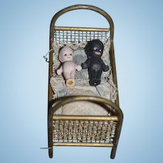 Old Doll Miniature Metal Bed W/ Old Bedding and Black Doll and White Doll Kewpie Dollhouse