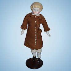 Old Doll China Head Blonde W/ Bangs Highland Mary