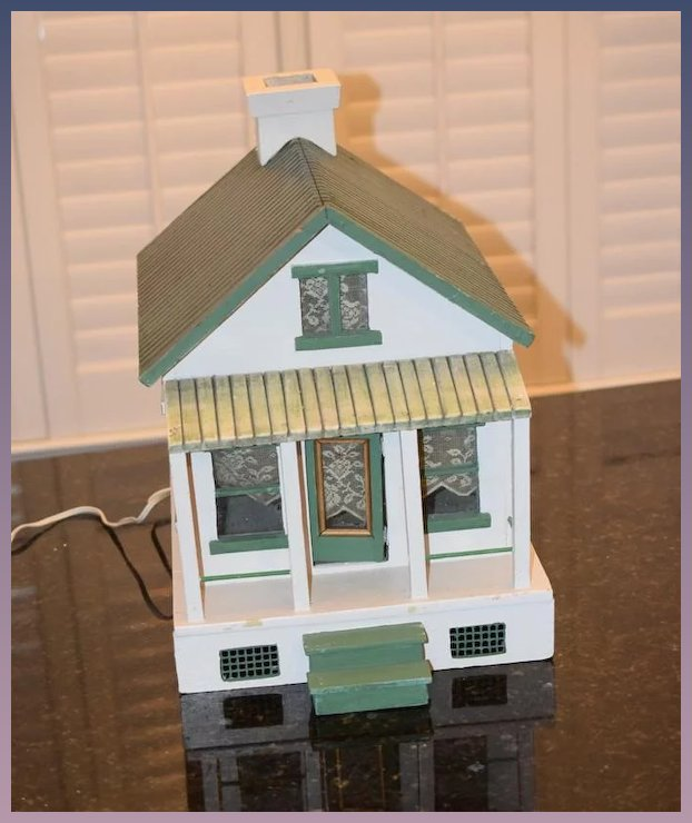 Old Doll Wood Dollhouse Miniature Cottage Glass Windows Porch
