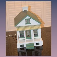 Old Doll Wood Dollhouse Miniature Cottage Glass Windows Porch Chimney