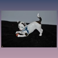 Old Porcelain Cat Figurine Playing W/ Ball Early Sitzendorf Porcelain