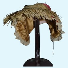 Sweet Doll Bonnet Hat W/ Lace and Feather Shirley Darhomray Tagged