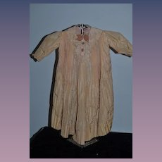 Wonderful Antique Doll Dress Long Pleats Velvet Bow and Buttons