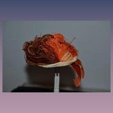 Sweet Vintage Straw Hat W/ Feathers FANCY Fashion Doll