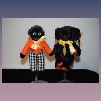 Vintage Doll & Teddy Bear Merrythought Boxed Set Golliwog and Black Bear Best Friends Cheeky & Golly