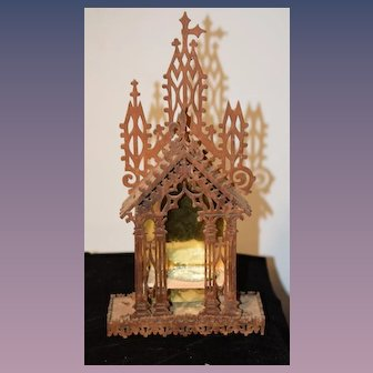 Old Ornate  Doll Wood Carved Religious Alter Wonderful Miniature Dollhouse