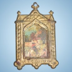 Old Doll Metal Miniature Frame and Print Picture Dollhouse
