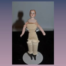 Old Doll German Dollhouse Man w/ Side Burns Tall Boots Bisque Miniature Dollhouse