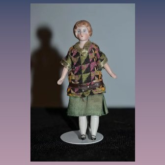 Old Bisque Doll Miniature Dollhouse W/ Bun Mother Teacher