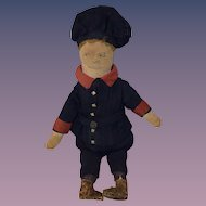 Antique Doll Cloth Doll Sewn on Features Wonderful Unusual