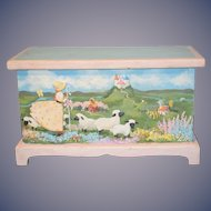 Wonderful Doll Miniature Child's Trunk Mary Had a Lamb Hand Painted Wood WONDERFUL