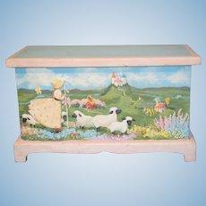 Wonderful Doll Miniature Child's Trunk Mary Had a Lamb Hand Painted Wood WONDERFUL