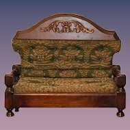 Antique Doll Miniature Sofa Ornate Wood Upholstered Fashion Doll Size