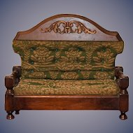 Antique Doll Miniature Sofa Ornate Wood Upholstered Fashion Doll Size