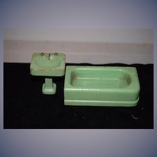 Old Doll Miniature Wood Painted Bath Tub and Sink Dollhouse