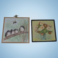Two Old Miniature Doll Glass Pictures For Dollhouse