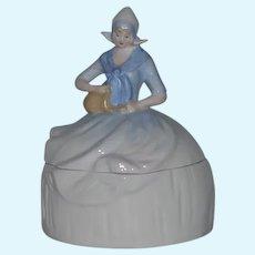 Wonderful China Head Half Doll Dutch Lady Powder Jar Trinket Box