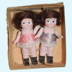 Old Doll Set in Original Old Box Twins Painted Bisque Side Glancing