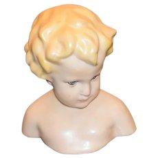Wonderful Doll Artist Wax Bust Glass Eyes Brigitte Deval Gorgeous Boy Signed Angelic Wax Over Porcelain