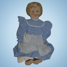 Old Doll Large Printed Cloth Doll Wearing Tagged Alice Brown Dress 27""
