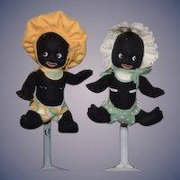 Wonderful R. John Wright Doll Set Gollibaby Girl and Gollibaby Boy Cloth Dolls Golliwog