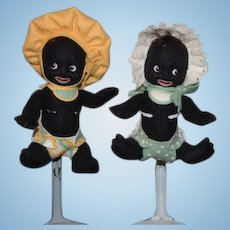 Wonderful R. John Wright Doll Set Gollibaby Girl and Gollibaby Boy Cloth Dolls Golliwog