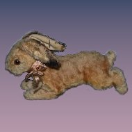 Old Mohair Rabbit Running Charming Stuffed Animal