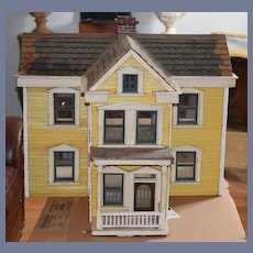 Antique Dollhouse Wood WONDERFUL Porch Two Story Miniature Doll