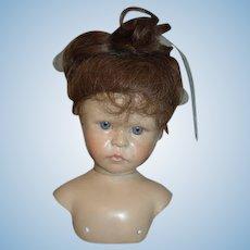 Wonderful Wax Doll Artist Doll Bust Swivel Neck Glass Eyes Signed Brigitte Deval Glass Eyes Baby