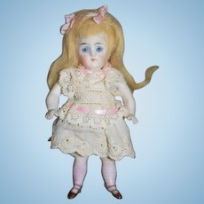 Antique Doll All Bisque Miniature Dollhouse Glass Eyes Pink Stockings