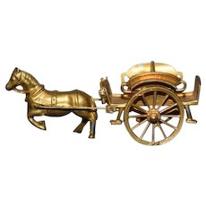 Wonderful Old Doll Miniature French Metal Horse and Buggy Dollhouse