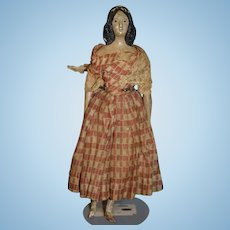 Antique Doll Milliner's Model Papier Mache & Wood Unusual Hair Style