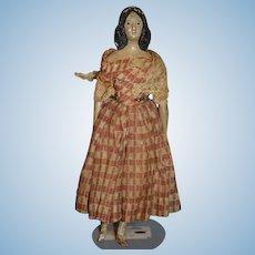 Antique Doll Milliner's Model Papier Mache & Wood Unusual Hair Style