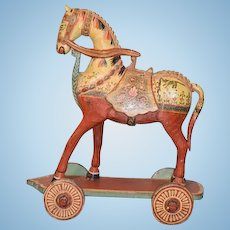 Wonderful Doll Vintage Horse on Wheels Pull Toy Painted Carved Wood