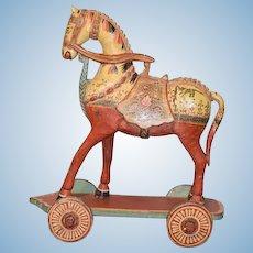 Wonderful Doll Vintage Horse on Wheels Pull Toy Painted Carved Wood