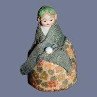 Old Miniature Bisque Doll Pincushion Dollhouse Doll
