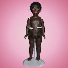 Wonderful Antique Black Doll Papier Mache Jointed Cabinet Size