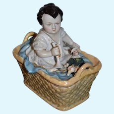 Antique China Head Doll W/ Punch Doll in Basket Box Staffordshire