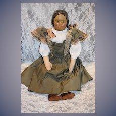 Antique American Linen Head Doll Rare Cloth Wonderful Painted Features Folk Art