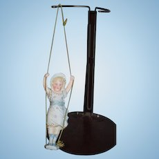 Antique Doll Bisque Piano Baby Swinging All Bisque Miniature Dollhouse