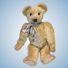 """Antique Teddy Bear Jointed Mohair Chad Valley W/ Button Tag Wonderful Big 23"""" Tall"""